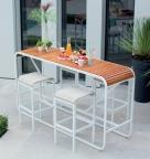 Table haute-tabouret_Blanc nacre-Teck-Chanvre (1) BD_Tandem_EGO Paris