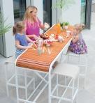 Table haute-tabouret_Blanc nacre-Teck-Chanvre (2) BD_Tandem_EGO Paris