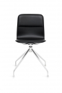 Bebo 6 up chrome bend leather black front view