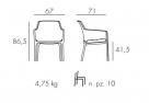 designové zahradní židle_net relax rozměr