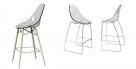 designová barová židle Glamour wood