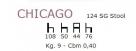 barová židle Chicago rozměry